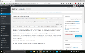 Wordpress-Editor mit Funktions-Buttons