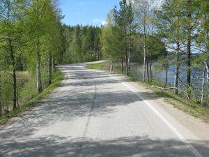 Landstraße in der finnischen Seenplatte